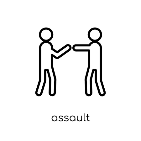 assault icon. Trendy modern flat linear vector assault icon on white background from thin line Army collection, outline vector illustration