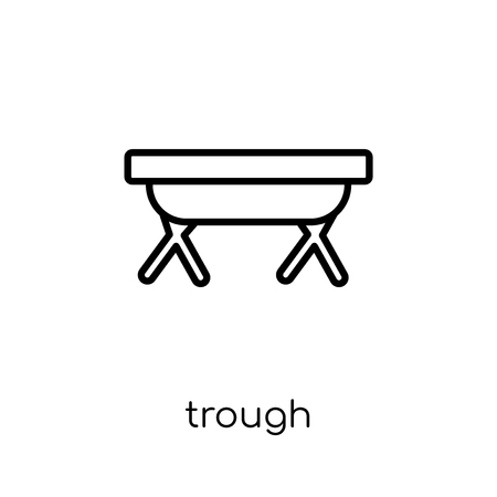 trough icon. Trendy modern flat linear vector trough icon on white background from thin line Agriculture, Farming and Gardening collection, outline vector illustration