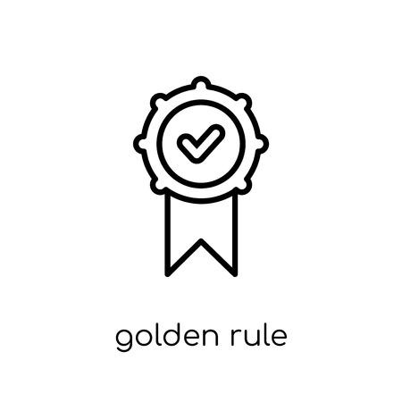 ゴールデンルールアイコン。トレンディモダンフラットリニアベクトル細線ビジネスコレクションから白い背景に黄金のルールアイコン、編集可能なアウトラインストロークベクトルイラスト
