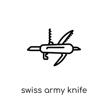 swiss army knife icon. Trendy modern flat linear vector swiss army knife icon on white background from thin line Army collection, outline vector illustration