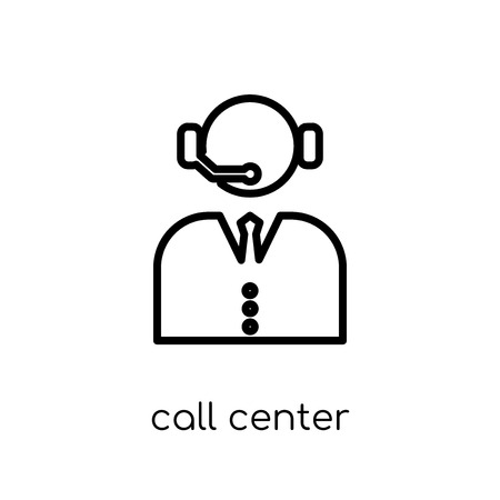 call center icon. Trendy modern flat linear vector call center icon on white background from thin line Communication collection, outline vector illustration