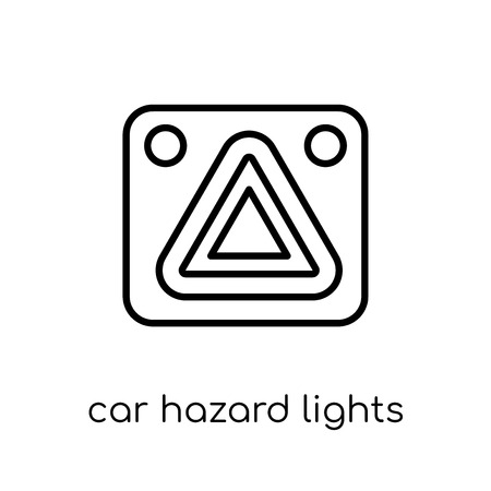 car hazard lights icon. Trendy modern flat linear vector car hazard lights icon on white background from thin line Car parts collection, outline vector illustration 写真素材 - 112418272