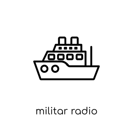 militar radio icon. Trendy modern flat linear vector militar radio icon on white background from thin line Army collection, outline vector illustration Illustration