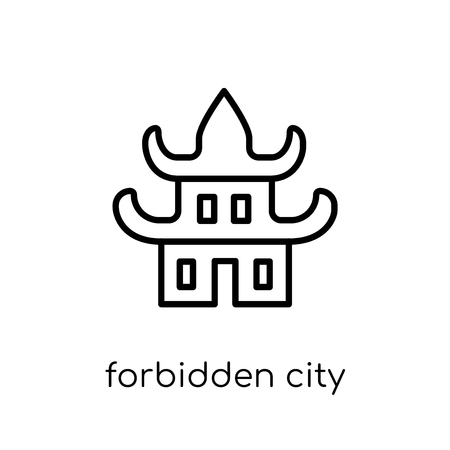 Forbidden city icon. Trendy modern flat linear vector Forbidden city icon on white background from thin line Architecture and Travel collection, editable outline stroke vector illustration Illustration