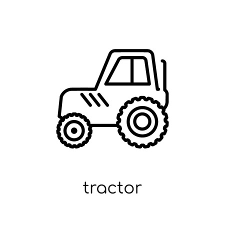 tractor icon. Trendy modern flat linear vector tractor icon on white background from thin line Agriculture, Farming and Gardening collection, outline vector illustration