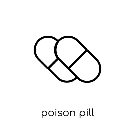Poison pill icon. Trendy modern flat linear vector Poison pill icon on white background from thin line business collection, editable outline stroke vector illustration Illustration