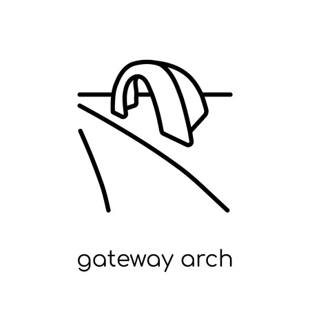 Gateway arch icon. Trendy modern flat linear vector Gateway arch icon on white background from thin line Architecture and Travel collection, editable outline stroke vector illustration