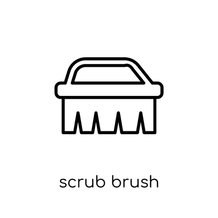 scrub brush icon. Trendy modern flat linear vector scrub brush icon on white background from thin line Cleaning collection, editable outline stroke vector illustration Illustration