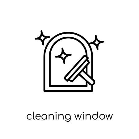 Cleaning Window icon. Trendy modern flat linear vector Cleaning Window icon on white background from thin line Cleaning collection, editable outline stroke vector illustration