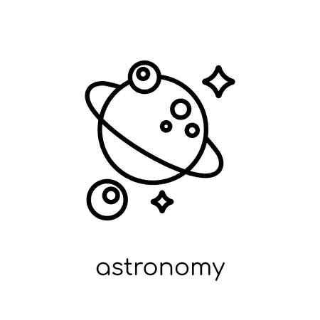 icône d'astronomie. Icône moderne dernier cri d'astronomie plat linéaire vectoriel sur fond blanc de la mince ligne collection d'astronomie, contour vector illustration