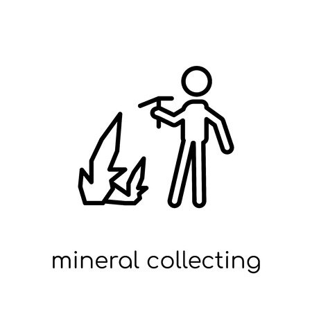 Mineral collecting icon. Trendy modern flat linear vector Mineral collecting icon on white background from thin line Activity and Hobbies collection, editable outline stroke vector illustration Stockfoto - 112418495