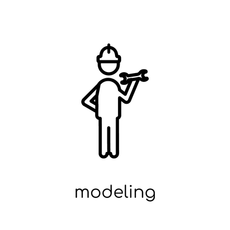 Modeling icon. Trendy modern flat linear vector Modeling icon on white background from thin line Activity and Hobbies collection, editable outline stroke vector illustration
