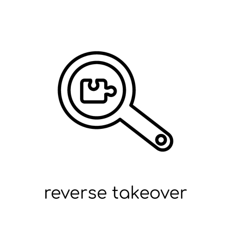 Reverse takeover icon. Trendy modern flat linear vector Reverse takeover icon on white background from thin line business collection, editable outline stroke vector illustration