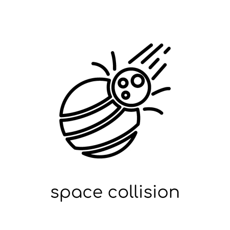 space collision icon. Trendy modern flat linear vector space collision icon on white background from thin line Astronomy collection, outline vector illustration