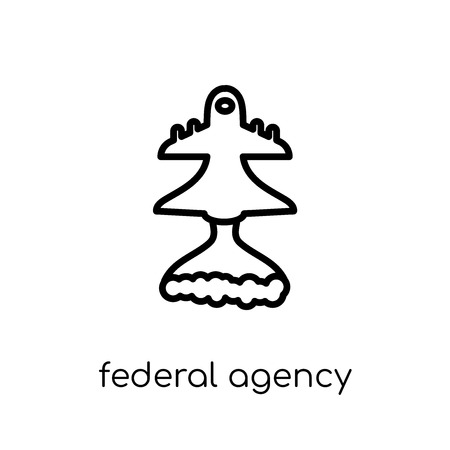 federal agency icon. Trendy modern flat linear vector federal agency icon on white background from thin line Army collection, outline vector illustration