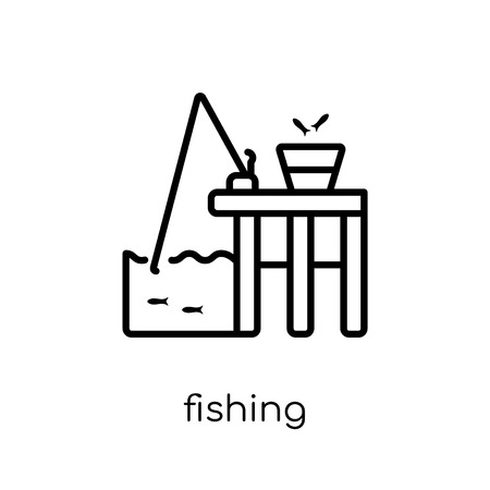 fishing icon. Trendy modern flat linear vector fishing icon on white background from thin line Camping collection, outline vector illustration