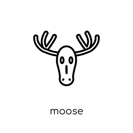 Moose icon. Trendy modern flat linear vector Moose icon on white background from thin line animals collection, editable outline stroke vector illustration