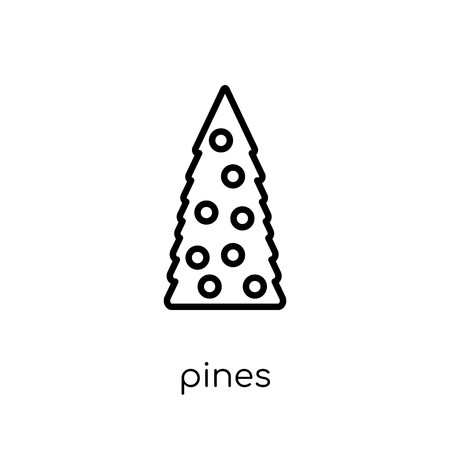 pines icon. Trendy modern flat linear vector pines icon on white background from thin line Christmas collection, outline vector illustration