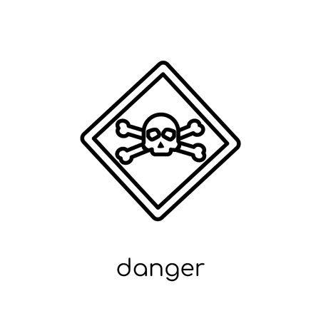 Danger sign icon. Trendy modern flat linear vector Danger sign icon on white background from thin line traffic sign collection, editable outline stroke vector illustration  イラスト・ベクター素材