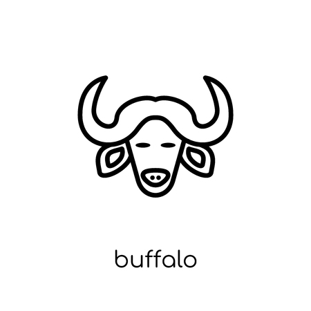 Buffalo icon. Trendy modern flat linear vector Buffalo icon on white background from thin line animals collection, editable outline stroke vector illustration