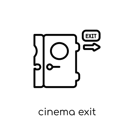 Cinema exit icon. Trendy modern flat linear vector Cinema exit icon on white background from thin line Cinema collection, editable outline stroke vector illustration