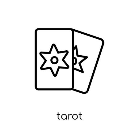 tarot icon. Trendy modern flat linear vector tarot icon on white background from thin line Circus collection, outline vector illustration