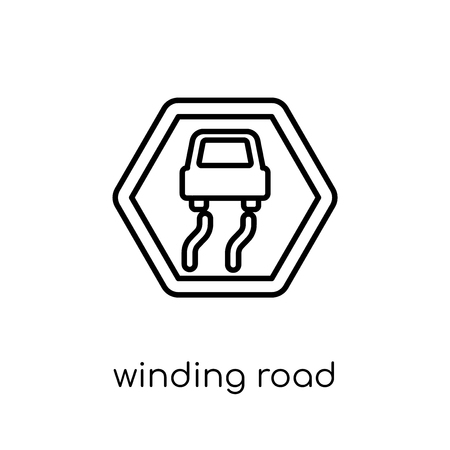 winding road sign icon. Trendy modern flat linear vector winding road sign icon on white background from thin line traffic sign collection, editable outline stroke vector illustration