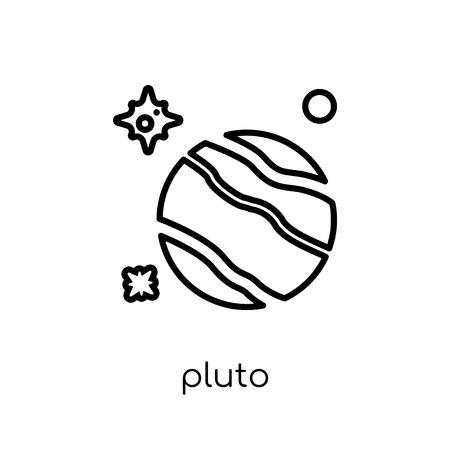 icône de pluton. Icône moderne dernier cri de Pluton plat linéaire vectoriel sur fond blanc de la mince ligne collection astronomie, contour vector illustration