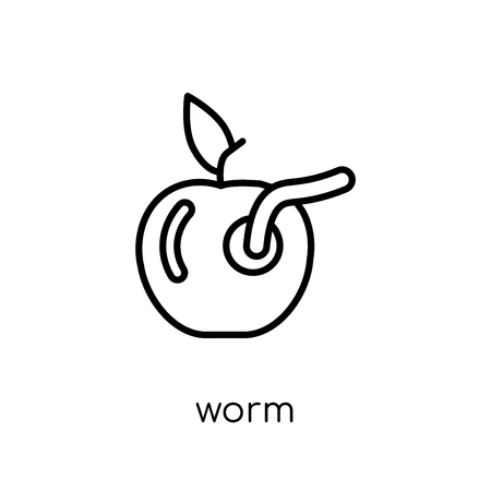 worm icon. Trendy modern flat linear vector worm icon on white background from thin line Agriculture, Farming and Gardening collection, outline vector illustration