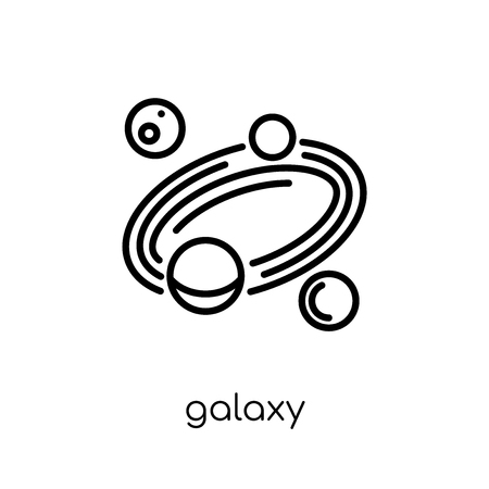 icona della galassia. Icona moderna tendenza di galassia piatto lineare di vettore su priorità bassa bianca da collezione di astronomia di linea sottile, illustrazione di vettore del profilo Vettoriali