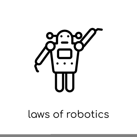 laws of robotics icon. Trendy modern flat linear vector laws of robotics icon on white background from thin line Artificial Intelligence, Future Technology collection, outline vector illustration