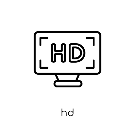 Hd icon. Trendy modern flat linear vector Hd icon on white background from thin line Cinema collection, editable outline stroke vector illustration
