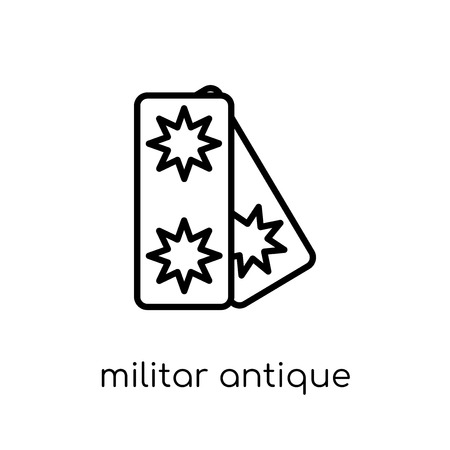 militar antique building icon. Trendy modern flat linear vector militar antique building icon on white background from thin line Army collection, outline vector illustration Illustration