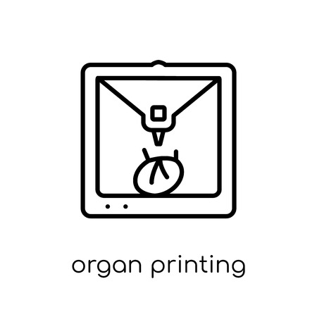 organ printing icon. Trendy modern flat linear vector organ printing icon on white background from thin line Artificial Intelligence, Future Technology collection, outline vector illustration