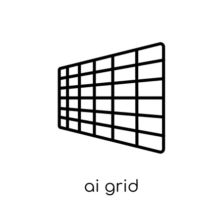 AI grid icon. Trendy modern flat linear vector AI grid icon on white background from thin line Artificial Intelligence, Future Technology collection, editable outline stroke vector illustration