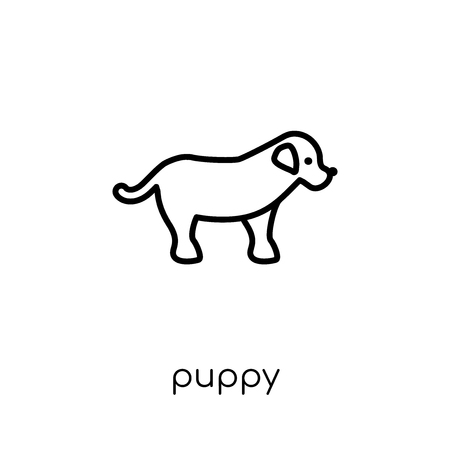puppy icon. Trendy modern flat linear vector puppy icon on white background from thin line animals collection, editable outline stroke vector illustration