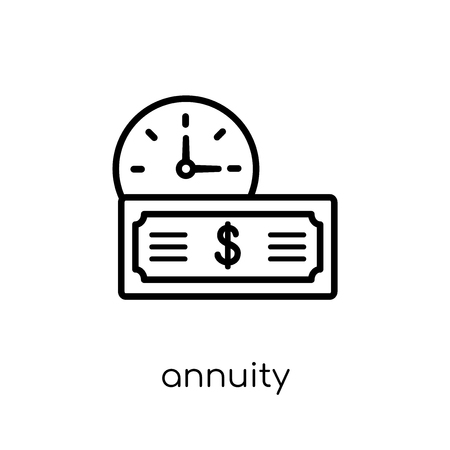 annuity icon. Trendy modern flat linear vector annuity icon on white background from thin line Annuity collection, outline vector illustration