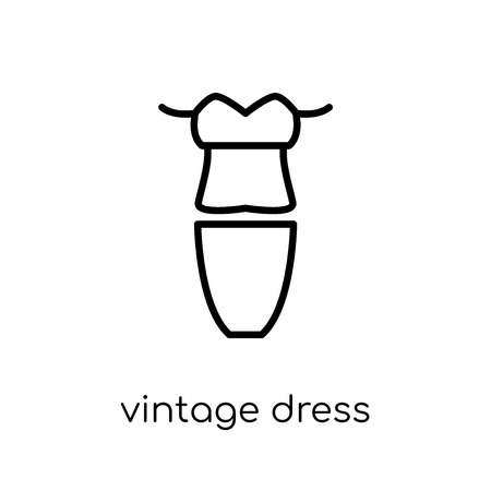 vintage dress icon. Trendy modern flat linear vector vintage dress icon on white background from thin line Vintage dress collection, outline vector illustration