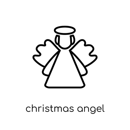 christmas angel icon. Trendy modern flat linear vector christmas angel icon on white background from thin line Christmas collection, outline vector illustration Archivio Fotografico - 112418557