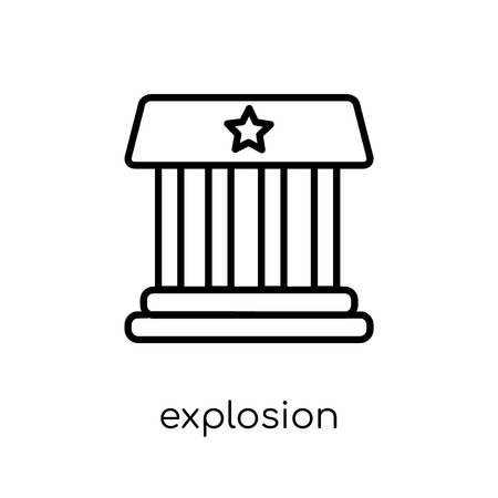 explosion icon. Trendy modern flat linear vector explosion icon on white background from thin line Army collection, outline vector illustration