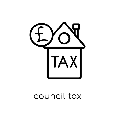 council tax icon. Trendy modern flat linear vector council tax icon on white background from thin line Council tax collection, outline vector illustration