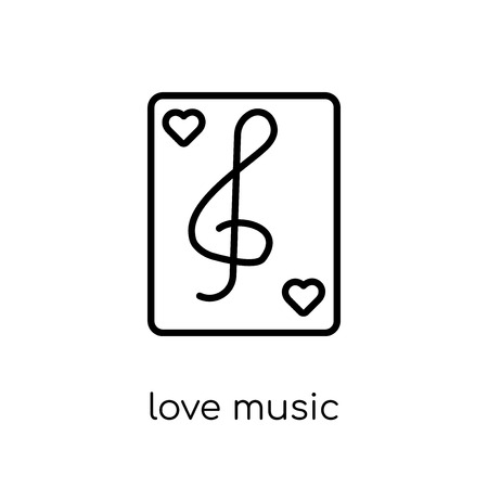 love music icon. Trendy modern flat linear vector love music icon on white background from thin line Wedding and love collection, outline vector illustration 向量圖像