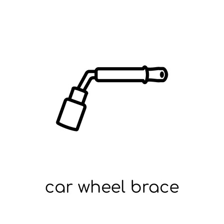 car wheel brace icon. Trendy modern flat linear vector car wheel brace icon on white background from thin line Car parts collection, outline vector illustration