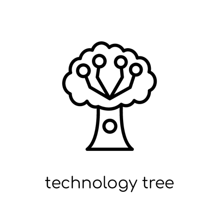 technology tree icon. Trendy modern flat linear vector technology tree icon on white background from thin line Artificial Intelligence, Future Technology collection, outline vector illustration 向量圖像