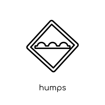 Humps sign icon. Trendy modern flat linear vector Humps sign icon on white background from thin line traffic sign collection, editable outline stroke vector illustration Illusztráció