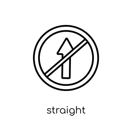 Straight sign icon. Trendy modern flat linear vector Straight sign icon on white background from thin line traffic sign collection, editable outline stroke vector illustration Illustration