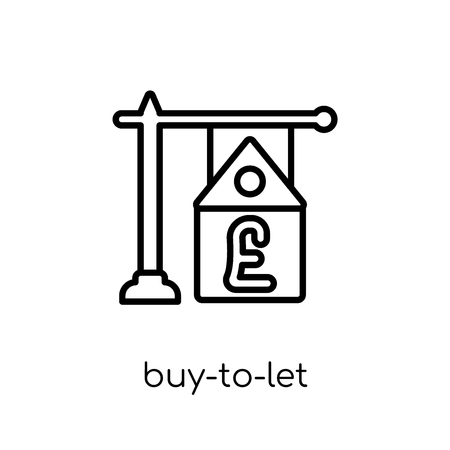buy-to-let mortgage icon. Trendy modern flat linear vector buy-to-let mortgage icon on white background from thin line Buy to let mortgage collection, outline vector illustration