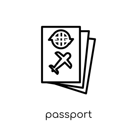 Passport icon. Trendy modern flat linear vector Passport icon on white background from thin line Architecture and Travel collection, editable outline stroke vector illustration