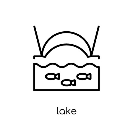 lake icon. Trendy modern flat linear vector lake icon on white background from thin line Camping collection, outline vector illustration 向量圖像