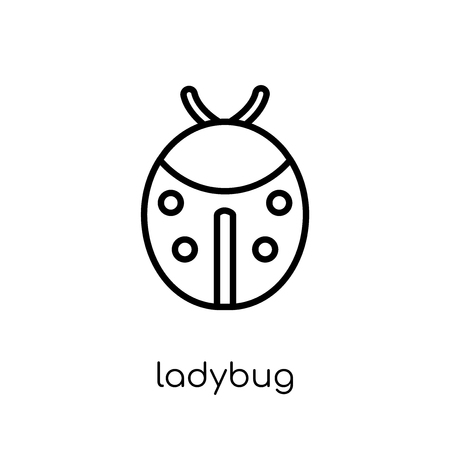 Ladybug icon. Trendy modern flat linear vector Ladybug icon on white background from thin line animals collection, editable outline stroke vector illustration 向量圖像